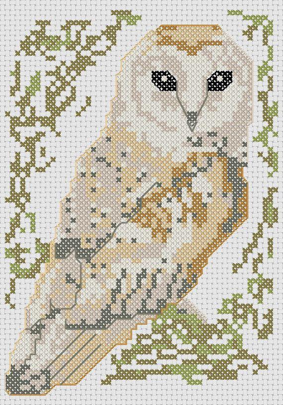 Barn owl cross stitch pattern birds series by MKDesignArt on Etsy, £2.50