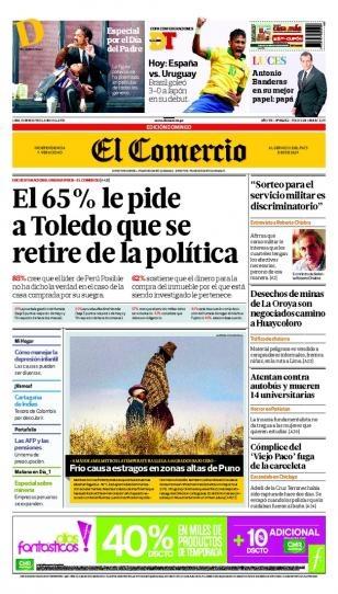 DOMINGO 16 de JUNIO de 2013  (PORTADA DE EL COMERCIO)