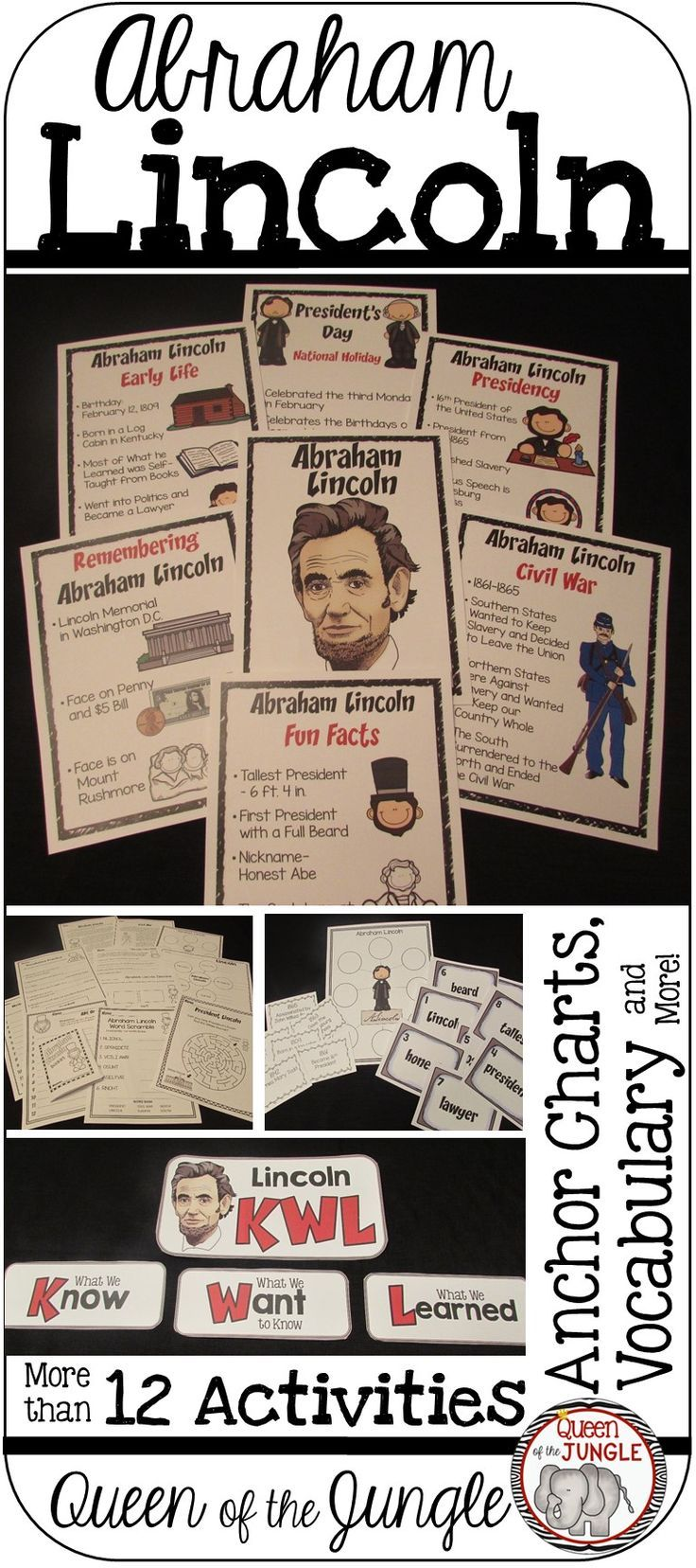 President's Day-Abraham Lincoln-Activities, Anchor Charts, Comprehension Pages, Timelines, Vocabulary and more.