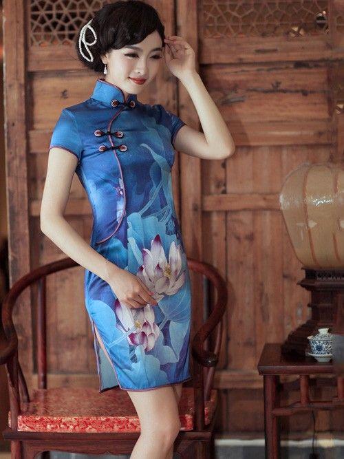 Blue Lotus Short Silk Qipao / Cheongsam / Chinese Evening Dress