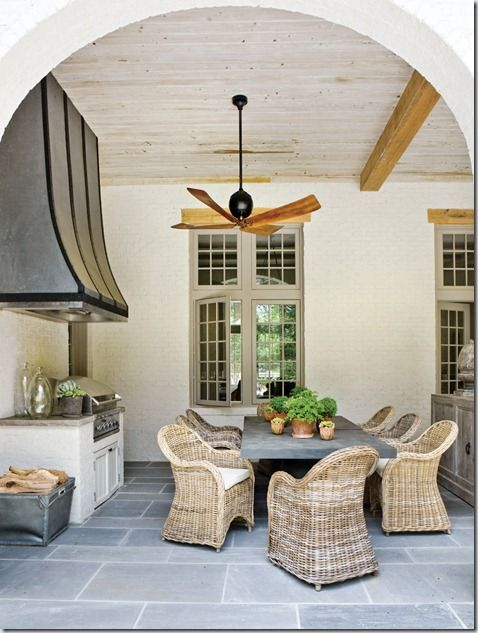 French style patio--These fans are currently available through Grizzel & Mann in Atlanta, and McRae & Company in San Francisco (both to the trade).Outdoorliving, Floors, Outdoor Living, Chairs, Outdoor Kitchens, Outdoor Room, Porches, Patios, Outdoor Spaces
