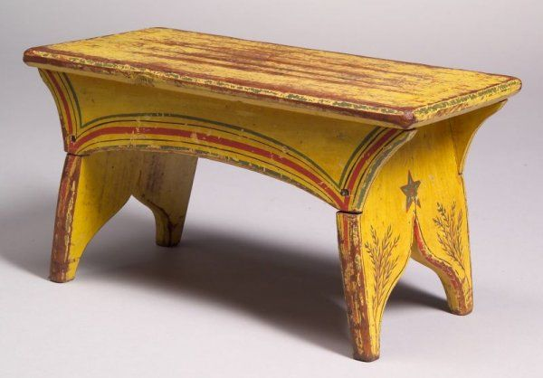 Yellow-painted Pine Cricket Stool, America, early $1,900