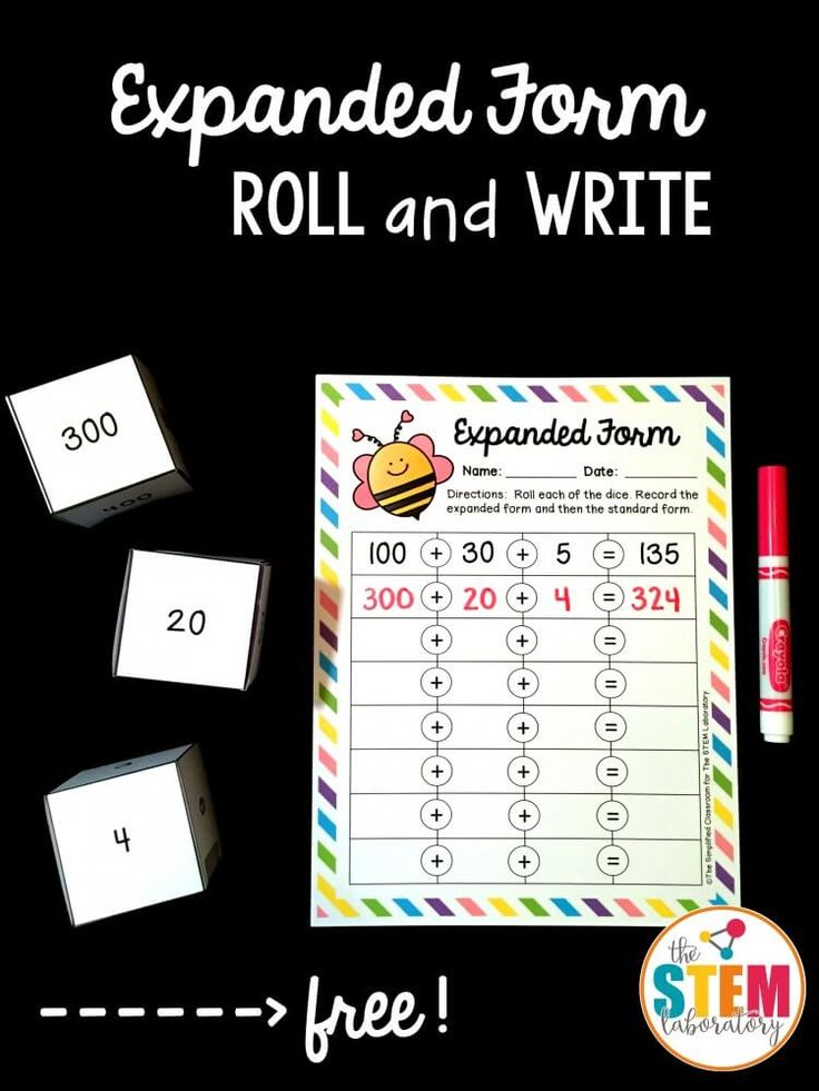 Expanded Form Roll and Write - The Stem Laboratory