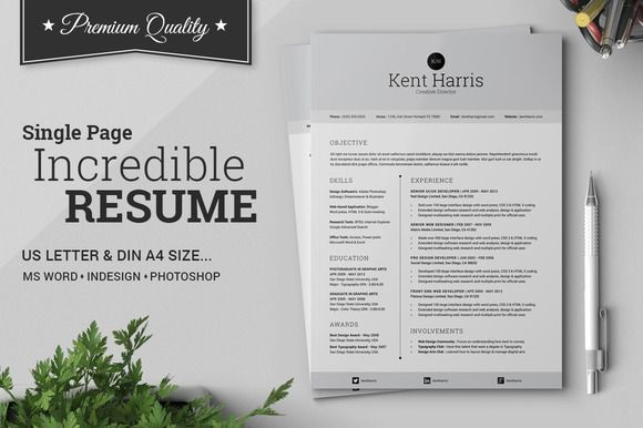Incredible Single Page Resume by SNIPESCIENTIST on Creative Market