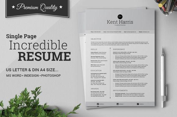 Incredible Single Page Resume Creative, Cv template and Creative - single page resume