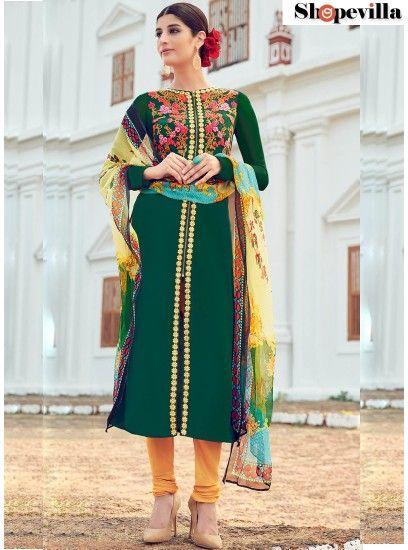 Exceptional Digital Print Work Green Designer Suit-6503