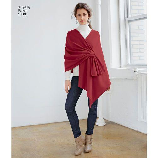 Simplicity Pattern 1098 Misses' Fleece Ponchos and Wraps