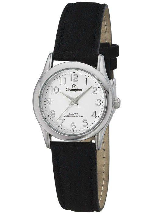 Relógio Champion Feminino Couro Preto CH25098S