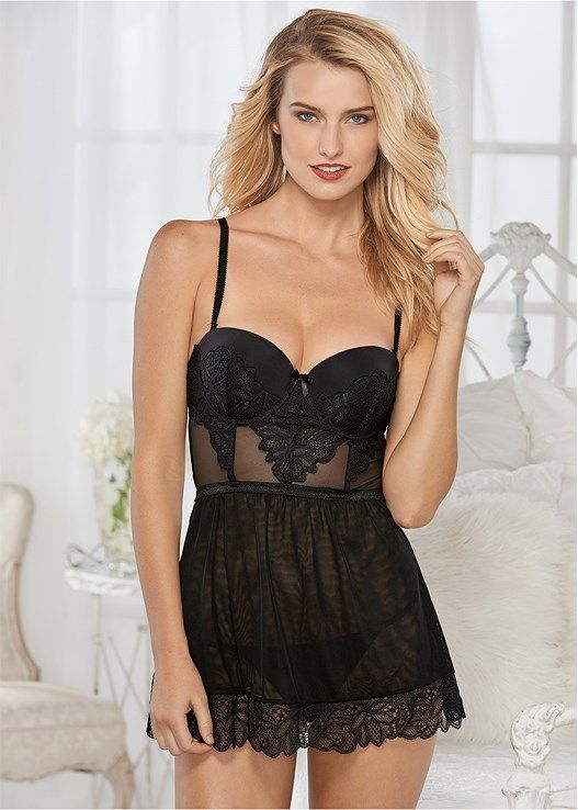 51816f9b8 Venus Women s Lace Push Up Babydoll Sexy Lingerie - Black