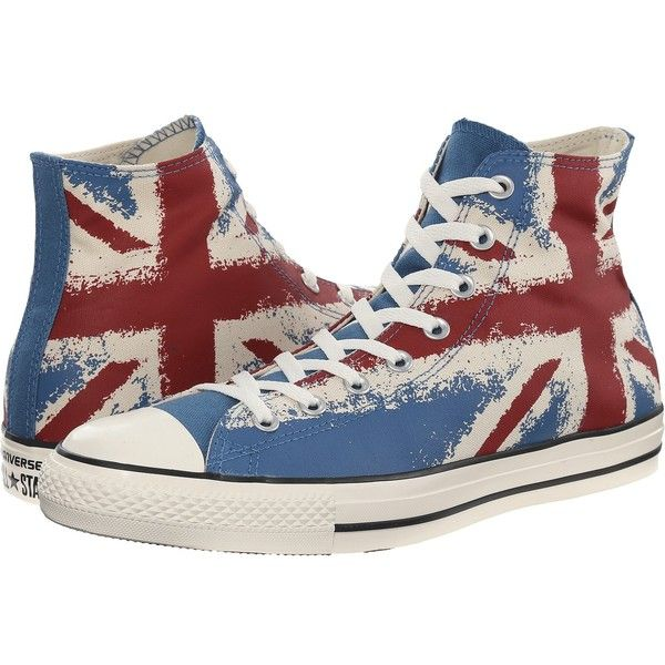 Converse Chuck Taylor All Star Flag Print Hi Lace up casual Shoes ($60) ❤ liked on Polyvore featuring shoes, sneakers, converse, laced shoes, grip trainer, hi tops, american flag sneakers and high top trainers