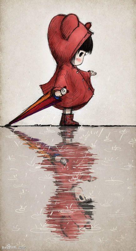 Regen is een woord dat je in België wel vaker hoort en gebruikt;-) En daar is deze tekening het voorbeeld van...