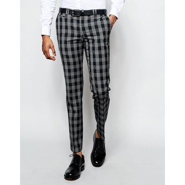Noak Monochrome Check Suit Pants in Super Skinny Fit ($70) ❤ liked on Polyvore…