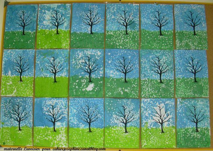Peinture arbre hiver
