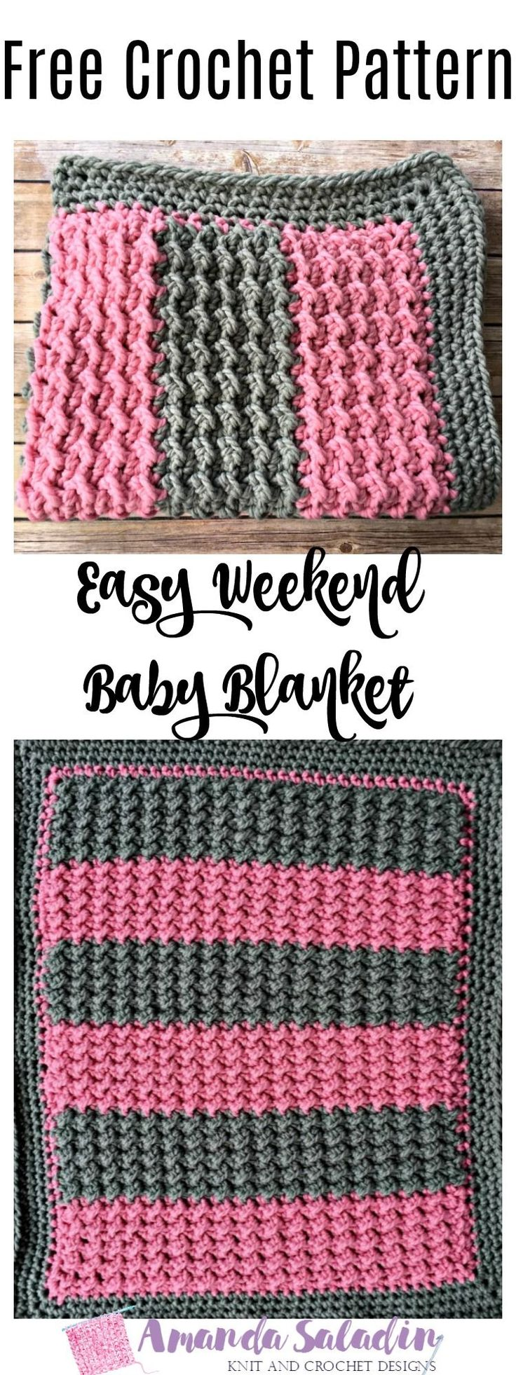 This baby blanket can be worked up amazingly quickly - that's why it's called the Easy Weekend Baby Blanket! Uses 600 yards of super bulky yarn.