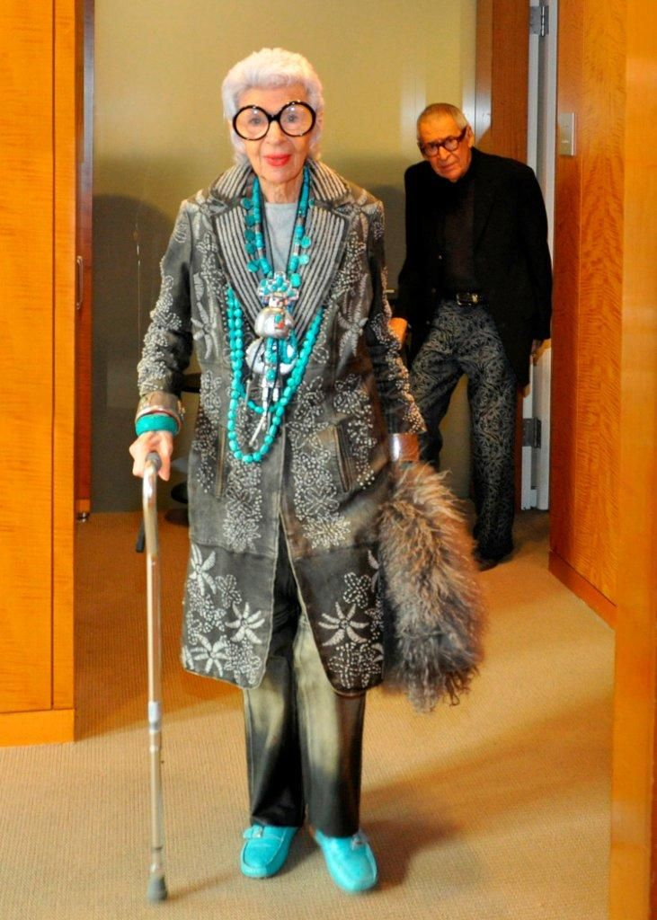 Iris Apfel and her husband of 64 years Carl Apfel; photo by Annie Watt