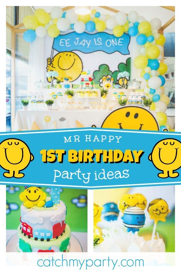 Check Out This Fun Mr Happy 1st Birthday Party The Cake Is So Cool See More Ideas And Share Yours At CatchMyParty Catchmyparty