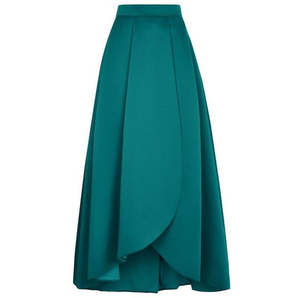 Pinko Coral Ball Gown Skirt (21,285 DOP) ❤ liked on Polyvore featuring skirts, bottoms, faldas, blue skirt, long maxi skirts, long pleated skirt, long blue skirt and hi low maxi skirt