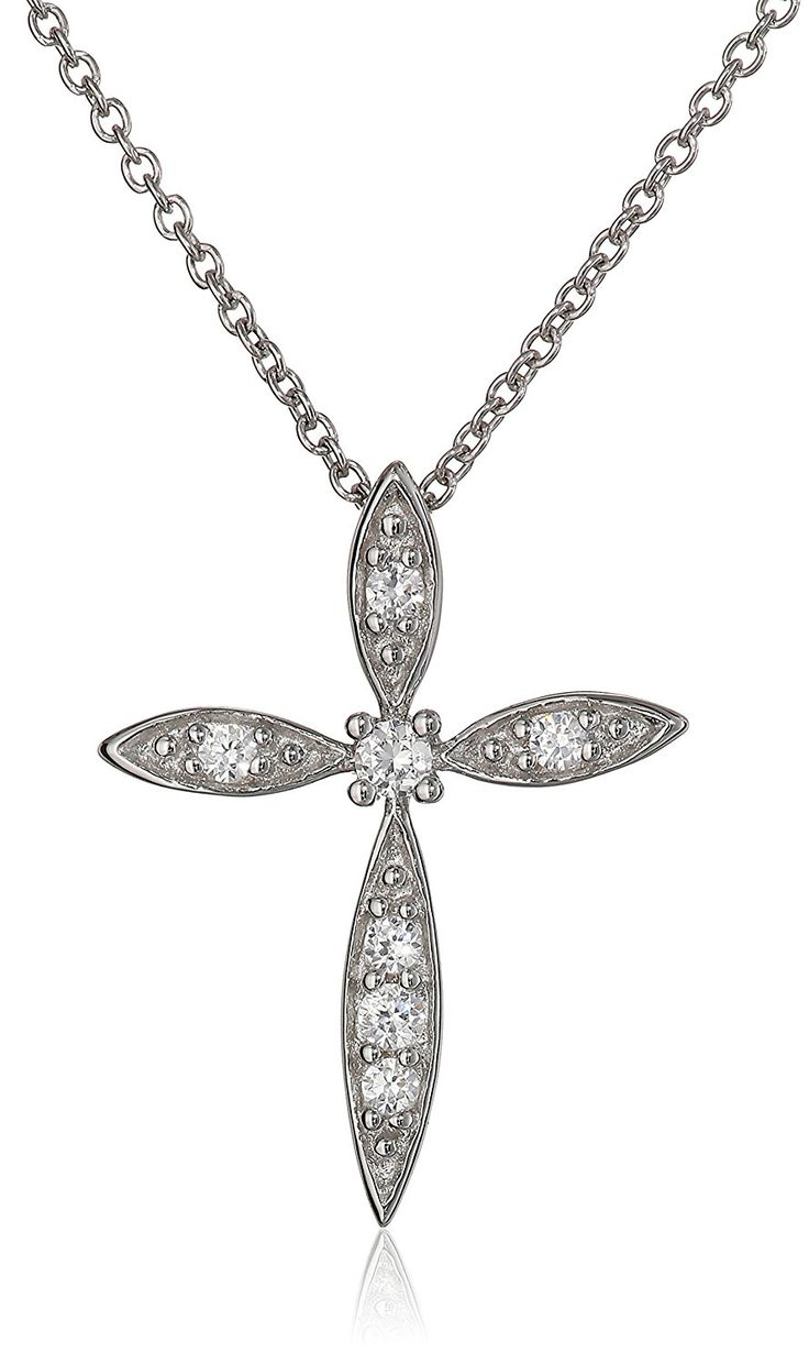 Sterling Silver White Cubic Zirconia Cross Pendant Necklace, 18' ** Details can be found by clicking on the image. (This is an Amazon Affiliate link and I receive a commission for the sales)