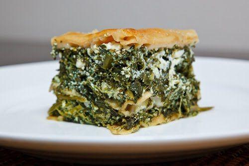 Spinach and Feta Spanakopita Lasagna (sub cheeses for 2 cups feta, 2 cups tofu)