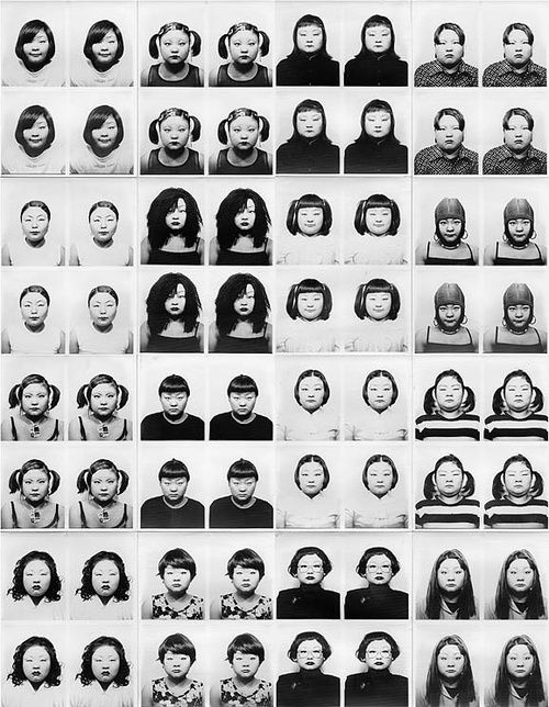 Tomoko Sawada's ID400 (1998). Sawada spent weeks changing her physical appearance - creating 400 different identities using a photo ID booth.