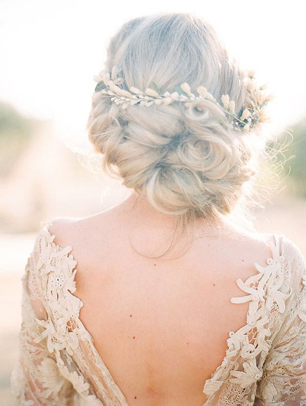 Romantic Bridal Hairstyle with an Open Back Wedding Dress | Carolly Photography | http://heyweddinglady.com/wine-champagne-pairing-chic-wedding-palette/