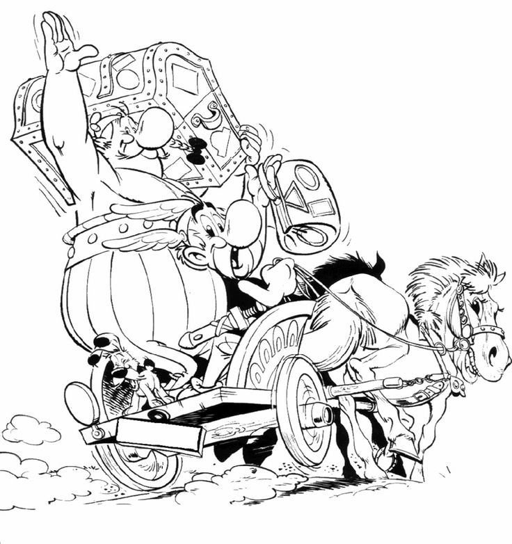 Asterix And Obelix Horse And Carriage Coloring Page
