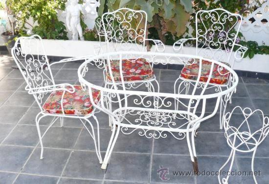 Mesa 6 personas escasa forja hierro exterior jardin for Mesas de terraza y jardin baratas