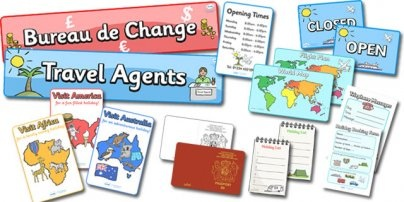 Everything you need to create a fab travel agents role play area in your classroom. Simply use with our other holidays and seaside display resources and away you go!