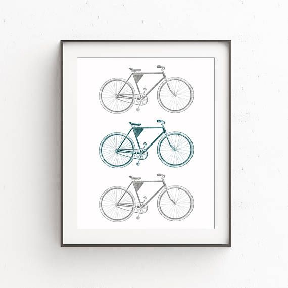 Bike Art Bike Poster Bicycle Decor Vintage Bicycle Art