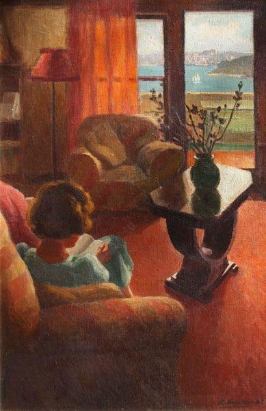 Roland Wakelin (1887 - 1971) - Living room in summer, 1942