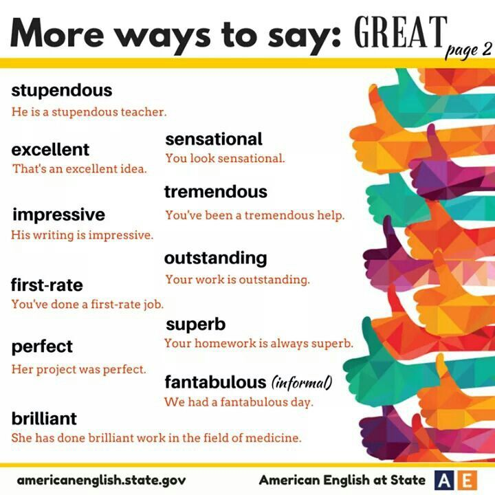 Different ways to say great!