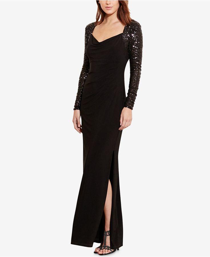 Lauren Ralph Lauren Sequined-Sleeve Jersey Gown - Dresses - Women - Macy's