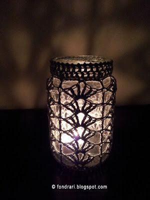 Thread crochet mason jar cover
