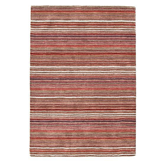 Classic Stripes Wool Rug, Red by Rug Culture
