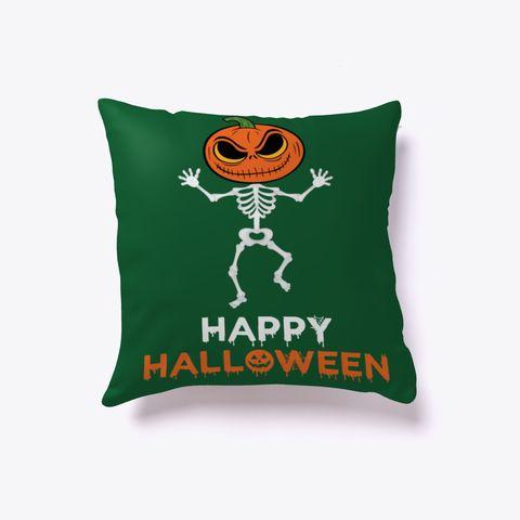 $23.99  Pumpkin Dance Skeleton Halloween Pillow Dark Green Maglietta Front