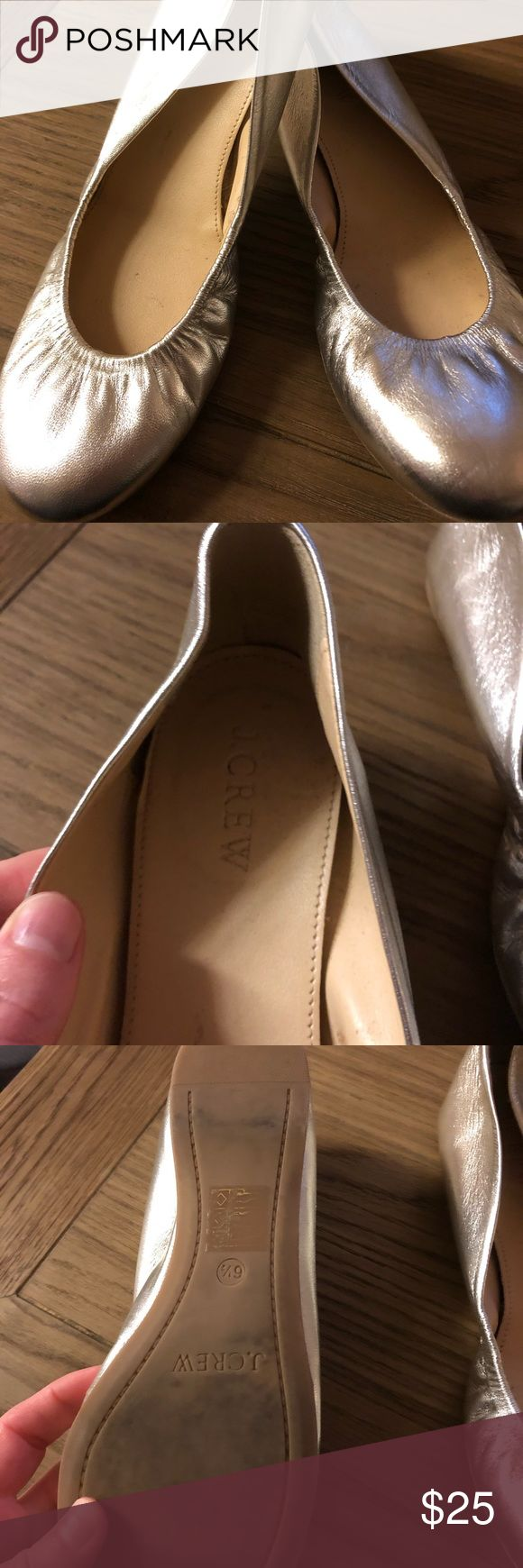 J. Crew silver ballet slippers These perfect ballet slippers are in excellent condition. So comfy and a good addition to a young professionals wardrobe. Make me an offer. J. Crew Shoes Flats & Loafers