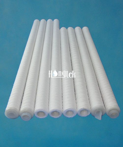 """String Wound Filter Cartridges,ID:28mm, OD:63mm, Rating:5μm ,Length:40"""", Core Material:PP,End Cap:222/Fin, Seal material:Viton"""