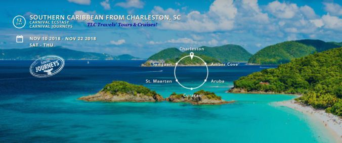 Book this Carnival Journeys 12-day Southern #Caribbean #Cruise sailing from #Charleston SC Nov 10, 2018 w/us #TLCTravels' by July 17, 2017 w/a 50% #REDUCEDDEPOSIT & recv $100 Onboard Credits p/cabin to spend while cruising. #Plan2Travel !! #CarnivalEcstasy #Aruba #AmberCove #SanJuan  #CarnivalCruise