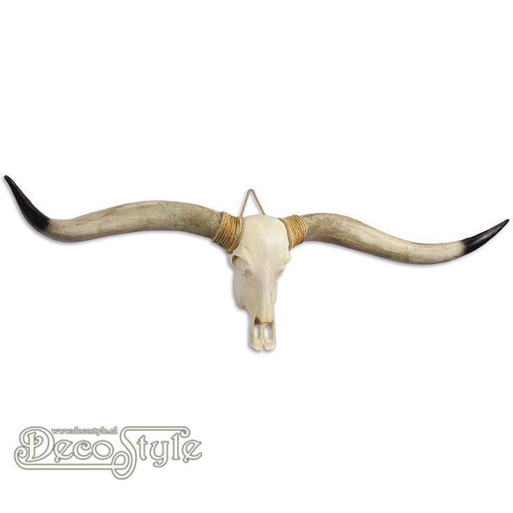 Beeld Longhorn Schedel - Zwarte Horens (169CM)  Zeer gedetailleerd beeld van een longhorn schedel. Zeker niet van echt te onderscheiden. Originele Schedels zijn gebruikt als mal. Prachtig om aan de wand te hangen.  Materiaal: Handbeschilderd Polystone   Kleur: Creme / Bruin  Afmetingen:  Hoogte: 40 cm Breedte: 169 cm Diepte: 20 cm  A RESIN LONGHORN SKULL (DARK HORNS)
