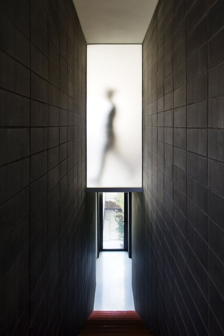Excellent contrast from the translucent glass to the dark walls.  Mews 02 by Andy Martin Architects | London, UK