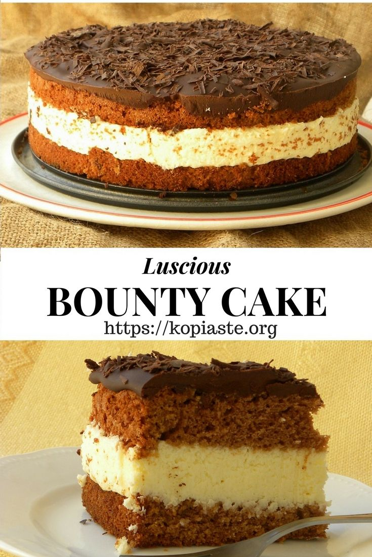 Bountry Cake is a luscious cake which mimics the chocolate bars as it is filled with coconut cream and topped with chocolate!  #bountycake #chocolatecoconutcake #Greekcakes or #vanillacake