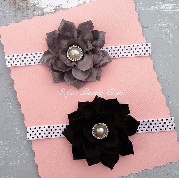 Gray headband Black headband Gray flower by SofiasBeautyCloset