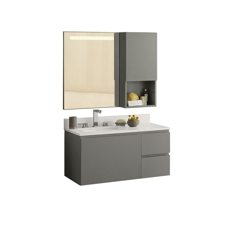 Ronbow Ariella 35-inch Wall Mount Bathroom Vanity Set in Slate Grey with LED Mirror (35, Slate Gray), Size Single Vanities