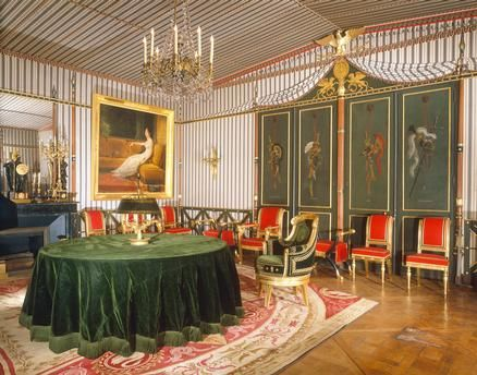 Rueil-Malmaison (Hauts-de-Seine, France), Château Malmaison (from 1798 residence of Napoleon Bonaparte and his wife Josephine; converted 1800–02 by Ch. Percier and P.F.L Fontaine).  Interior view: Salle du Conseil (in July 1800 furnished in the style of a tent).