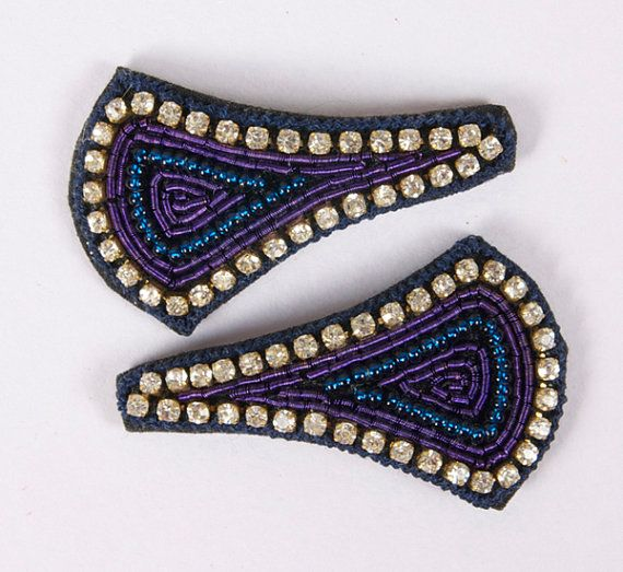 """A beautiful pair of hand embroidered broad triangular, almost kite shaped snap clips-""""tick tock clips"""". Blue thread edging with diamonds and blue beading embroidery in the center. Snap clip, diamantes, hand embroidered. Blue, Beading & Diamantes. Broad triangle, almost kite shaped; Approx. 1 inches length by 1 1/2 inch width. £8.00 on Etsy... Please click on the Etsy link to purchase."""