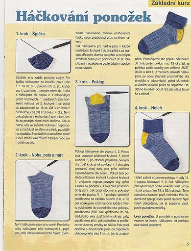 háčkované ponožky, návod