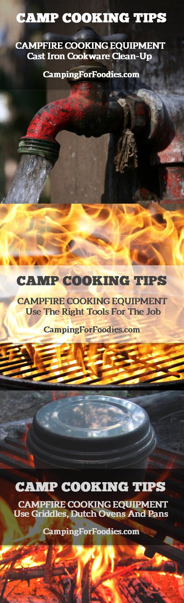 Camp Cooking Tips For Campfire Cooking Equipment - Use The Right Tools For The Job - Cast Iron Cookware Clean-Up For Cast Iron Griddles, Dutch Ovens And Pans - Camping For Foodies .com. Find tons of great RV and camping tips and recipes http://www.campingforfoodies.com/campfire-cooking-equipment-you-cant-live-without/