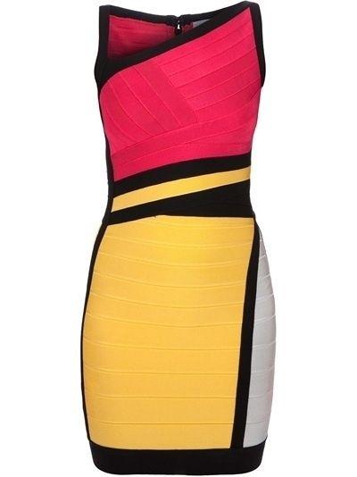 New with Tags Authentic Herve Leger One Shoulder Black & Tan Bandage Dress. #HerveLeger #WigglePencil #LittleBlackDress