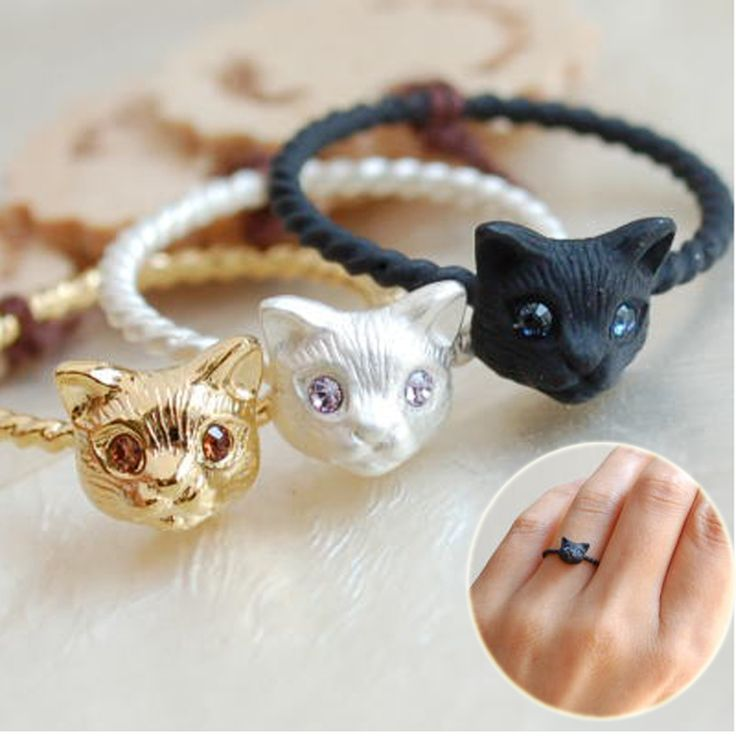 New Fashion Gold Color Cut Cat Head Rings Lovely Animal Persian Boho Metal MId Finger Rings for Women Party Aneis Jewelry