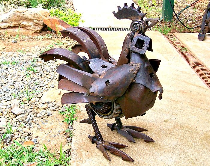 Upcycled metal chicken